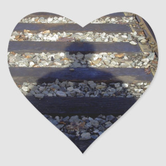 Train Track Shadow Heart Sticker