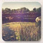 Train Tracks Across River Beverage Coaster