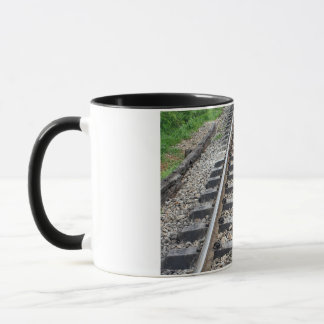 Train Tracks Along Grass Closeup Mug