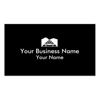 Train tracks black white business cards