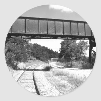 Train Tracks Classic Round Sticker
