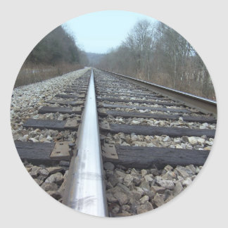Train Tracks Classic Round Sticker