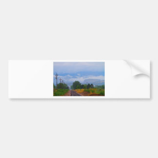 Train Tracks into the Rocky Mountain Low Clouds Bumper Sticker