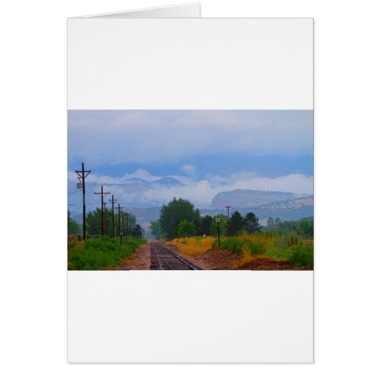 Train Tracks into the Rocky Mountain Low Clouds Card