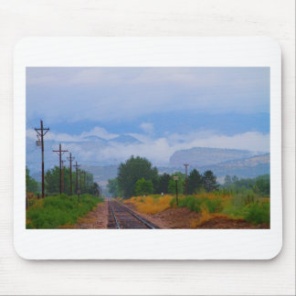 Train Tracks into the Rocky Mountain Low Clouds Mouse Pad