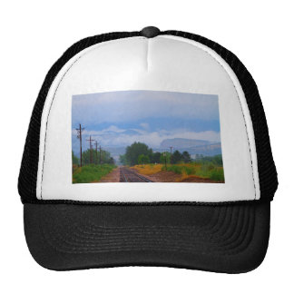 Train Tracks into the Rocky Mountain Low Clouds Trucker Hat