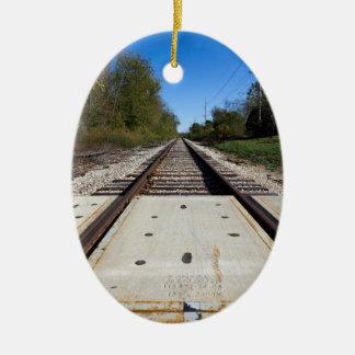 Train Tracks Oval-Shaped Ornament2 Ceramic Ornament