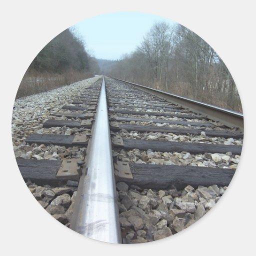 Train Tracks Round Sticker