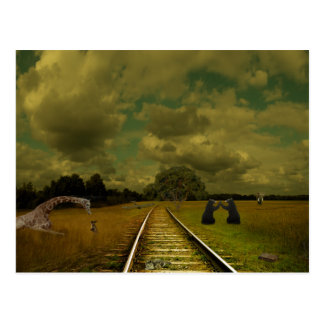 train tracs with giraffes, bears, elephants postcard