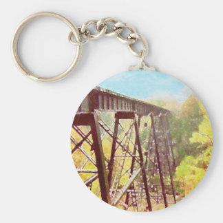 Train Trestle Basic Round Button Keychain
