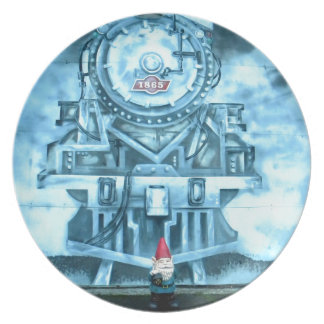Train Tunnel Gnome Melamine Plate