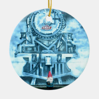 Train Tunnel Gnome Double-Sided Ceramic Round Christmas Ornament