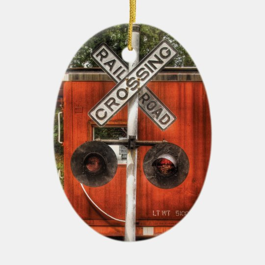 Train - Whippany, NJ - RailRoad Crossing Ceramic Ornament