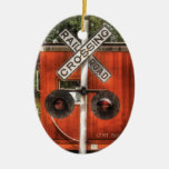 Train - Whippany, NJ - RailRoad Crossing Double-Sided Oval Ceramic Christmas Ornament