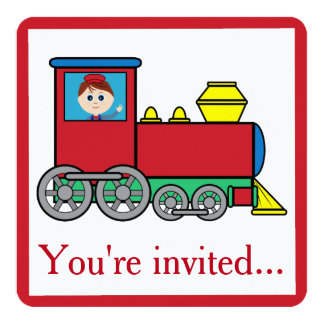 Train with Boy Waving Birthday Party Invitation