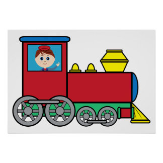 Train with Boy Waving Poster