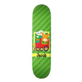 Train with Giraffe on Green Stripes Custom Skateboard