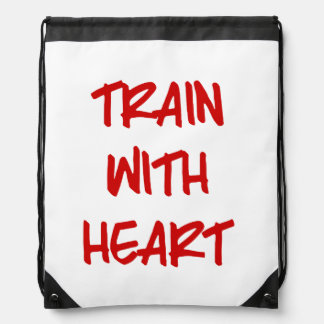 Train with Heart Drawstring Backpack