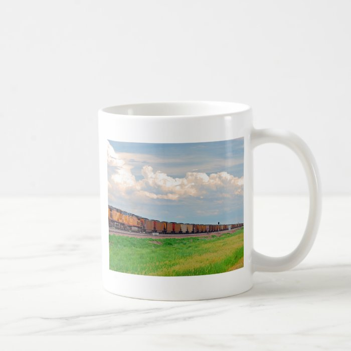 train with many cars coffee mug