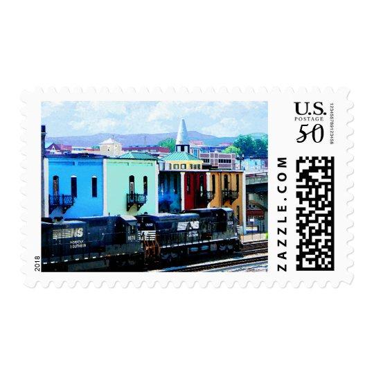 Train with Two Locomotives Roanoke, VA Postage