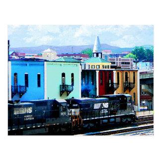 Train with Two Locomotives Roanoke VA Postcard