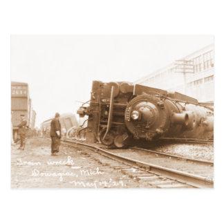 Train Wreck 1929 Postcard