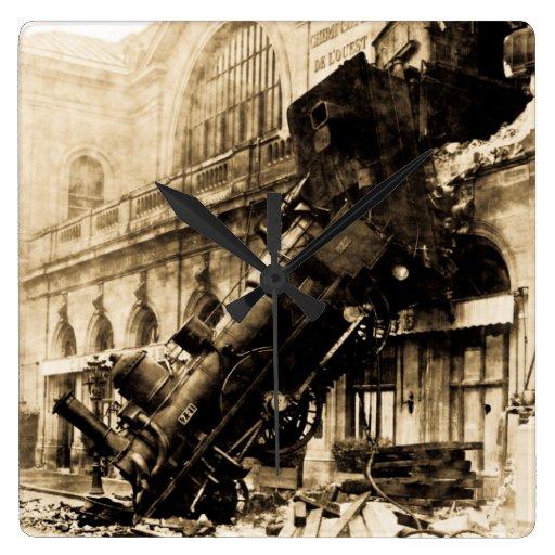 Train Wreck at Montparnasse 1895 Vintage Wall Clocks