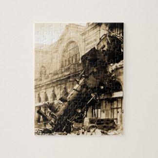 Train Wreck at Montparnasse 1895 Vintage Jigsaw Puzzle