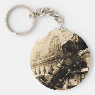 Train Wreck at Montparnasse 1895 Vintage Key Chain