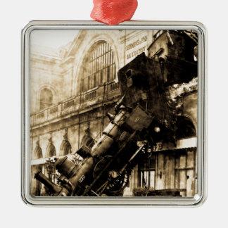 Train Wreck at Montparnasse 1895 Vintage Metal Ornament