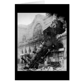 Train Wreck at Montparnasse, railroad disaster Card