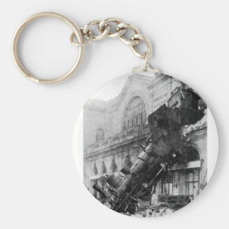Train Wreck at Montparnasse, railroad disaster Keychain