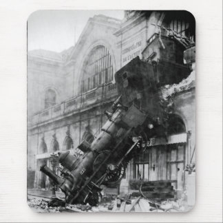 Train Wreck at Montparnasse, railroad disaster Mouse Pad