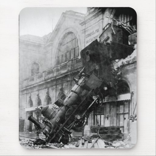 Train Wreck at Montparnasse, railroad disaster Mouse Mat