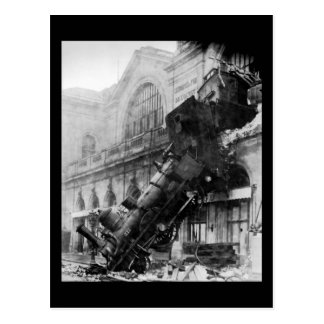 Train Wreck at Montparnasse, railroad disaster Postcard