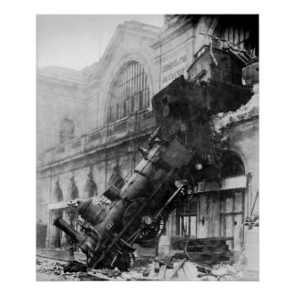 Train Wreck at Montparnasse Station in Paris 1895 Poster