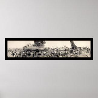 Train Wreck Illinois Photo 1909 Poster