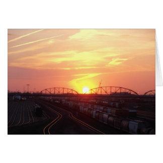 Train Yard at Sunset Card