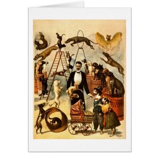 Trained Dog Act 1899 - Vintage Circus Act Poster Card
