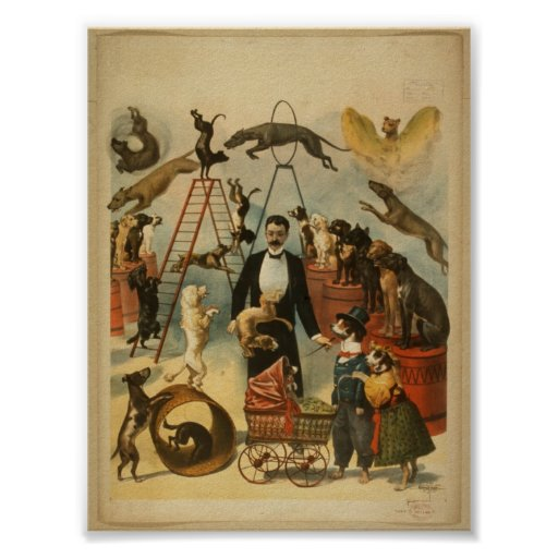 Trained Dog Act - Vintage Dog Circus Poster