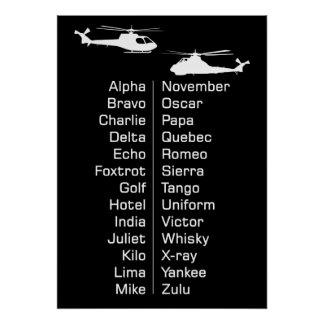 Trainee Cadet Helicopter Pilot Phonetics Chart