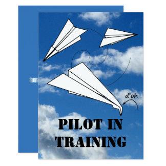 Trainee Pilot Flying Paper Aeroplane Airplane Card