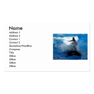Trainer riding on killer whale orca photograph business card