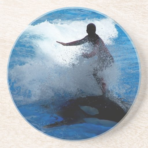 Trainer riding on killer whale orca photograph coasters