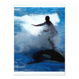 Trainer riding on killer whale orca photograph 5x7 paper invitation card
