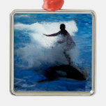 Trainer riding on killer whale orca photograph christmas ornament