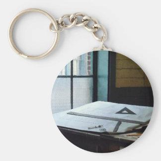 Traingle Ruler and Compass Key Chain