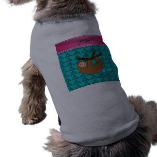 Traingles conocidos personalizados de la turquesa playera sin mangas para perro
