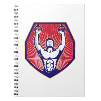 Training Athlete Rings Retro Notebook