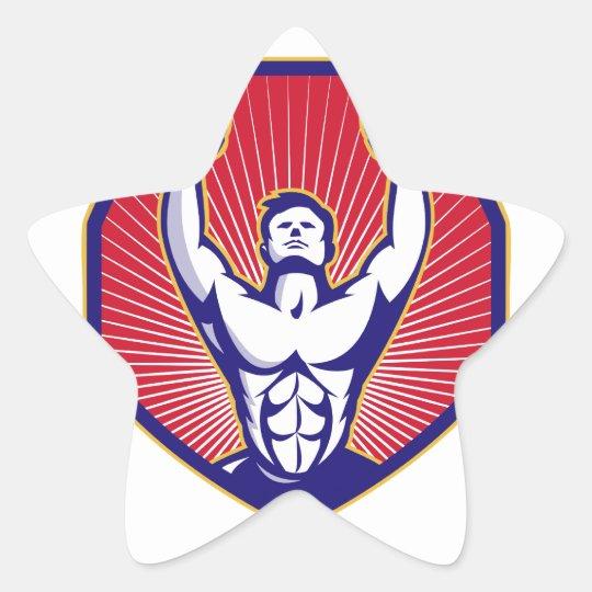 Training Athlete Rings Retro Star Sticker